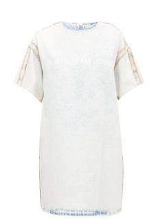 MM6 Maison Margiela Logo-print bleached denim dress