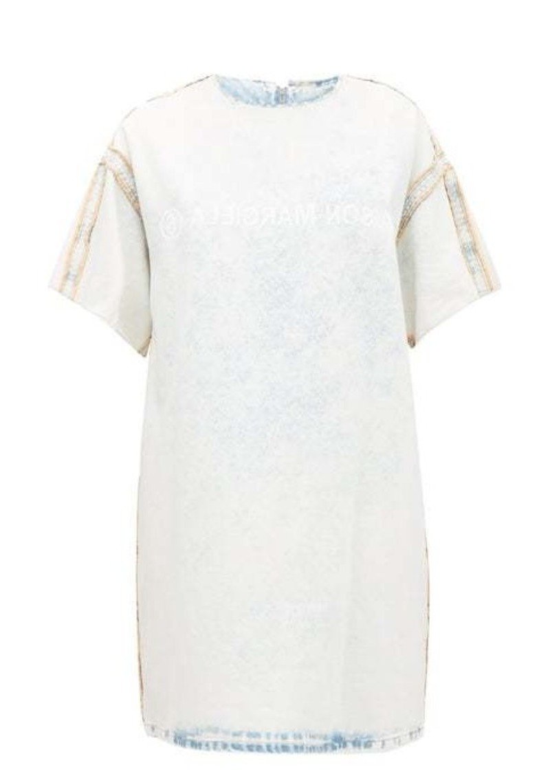 MM6 Maison Margiela Logo-print bleached denim dress
