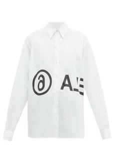 MM6 Maison Margiela Logo-print cotton-poplin shirt