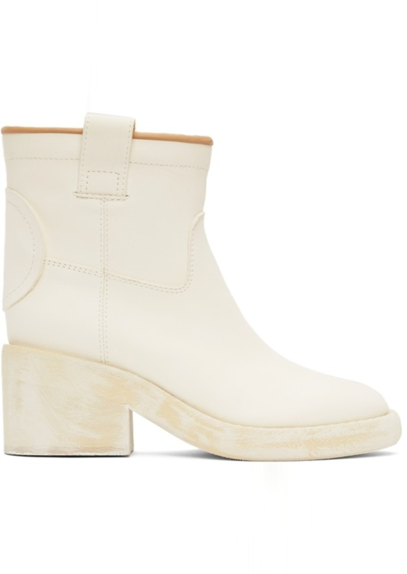 MM6 Maison Margiela Off-White Western Ankle Boots