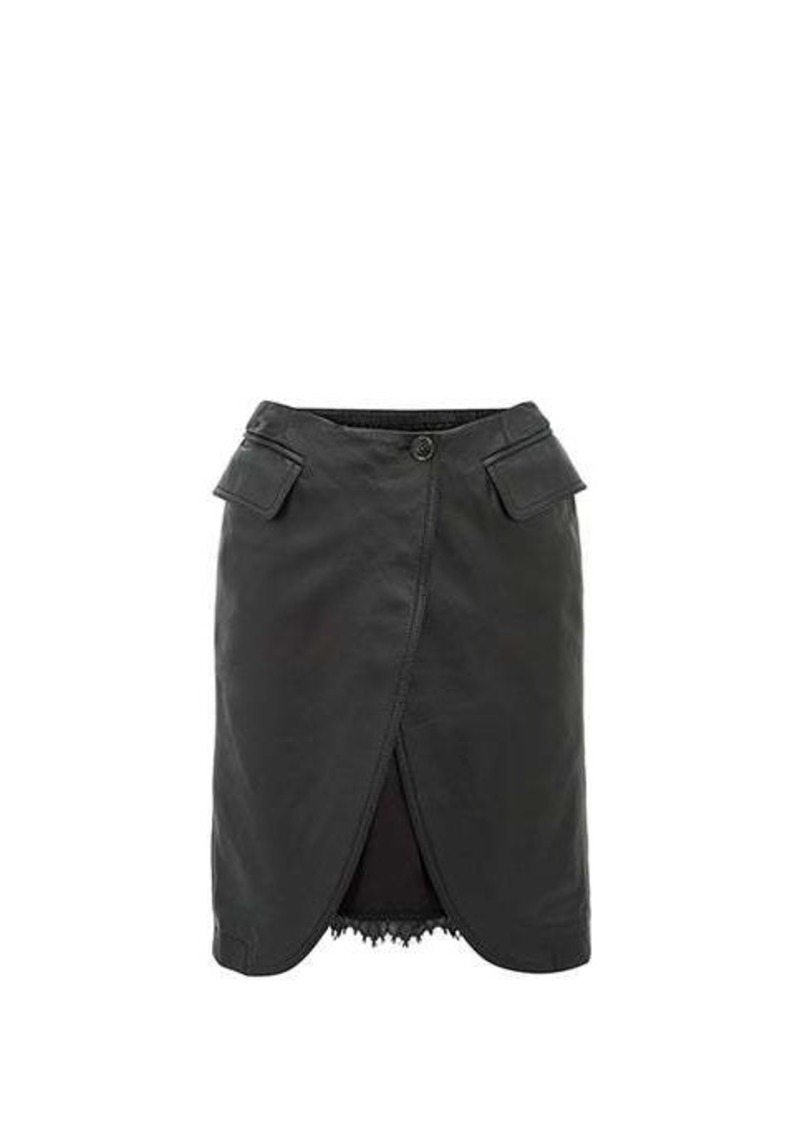 MM6 Maison Margiela Open-front leather skirt