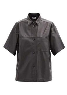 MM6 Maison Margiela Panelled short-sleeved leather shirt