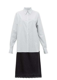 MM6 Maison Margiela Pinstriped cotton and satin shirtdress
