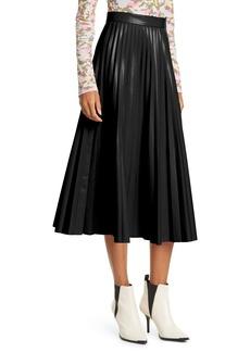 MM6 Maison Margiela Pleated Faux Leather Midi Skirt