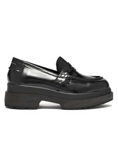 MM6 Maison Margiela Raised-sole patent-leather penny loafers