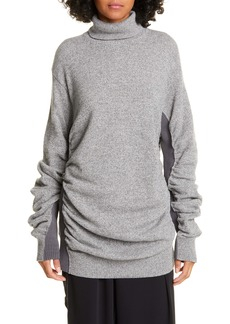 MM6 Maison Margiela Ribbed Panel Ruched Wool Blend Sweater