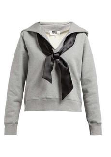 MM6 Maison Margiela Ribbon-embellished cotton hooded sweatshirt