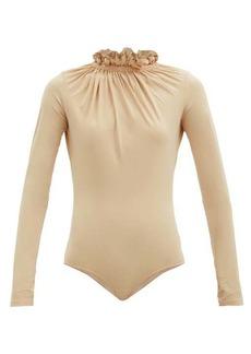 MM6 Maison Margiela Ruffled-neck jersey bodysuit