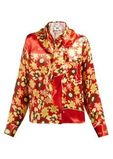 MM6 Maison Margiela Sailor-collar floral-print satin blouse