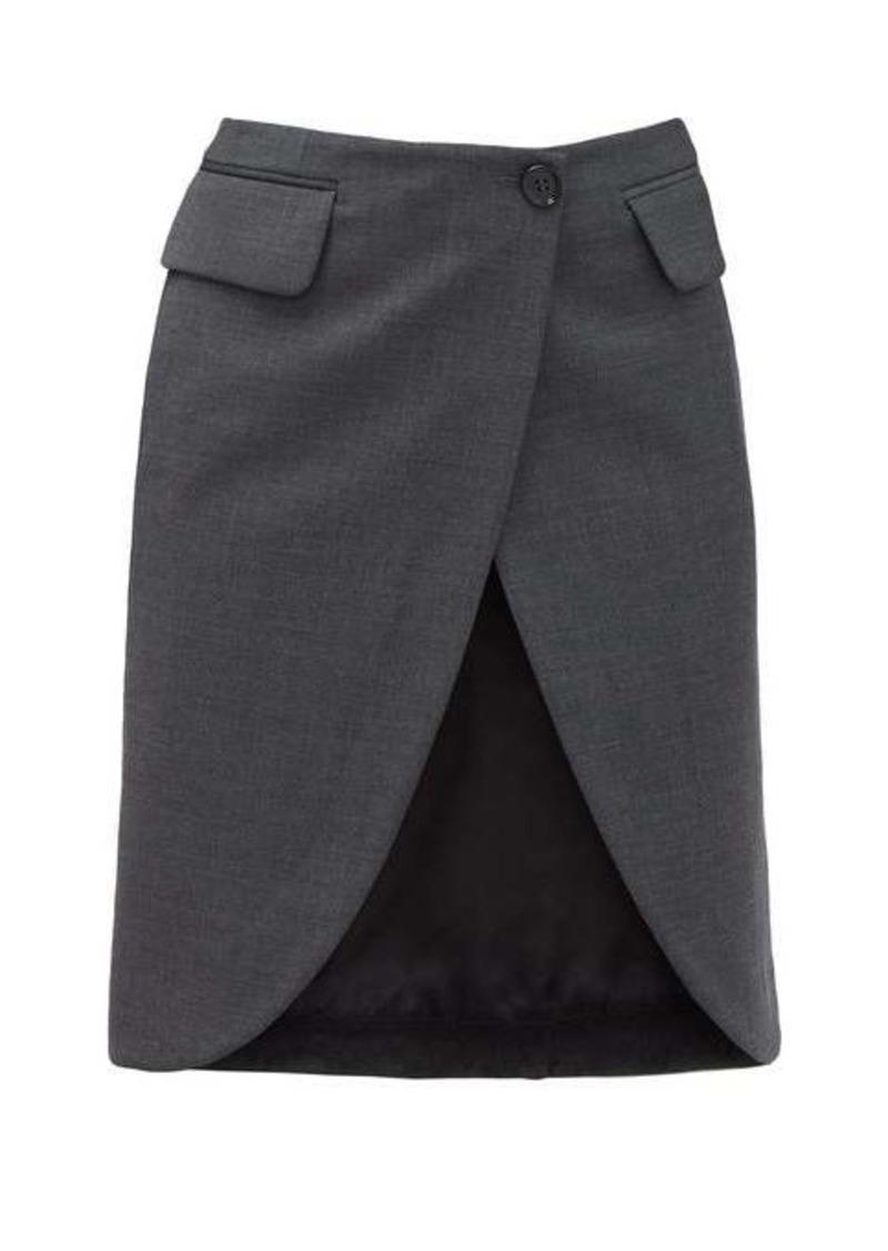 MM6 Maison Margiela Satin-panel crepe wrap skirt