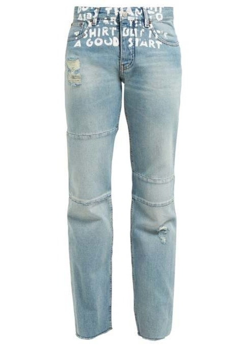 MM6 Maison Margiela Slogan-print high-rise jeans