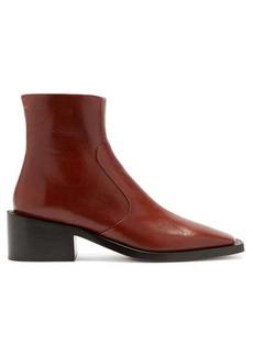 MM6 Maison Margiela Square-toe block-heel leather ankle boots