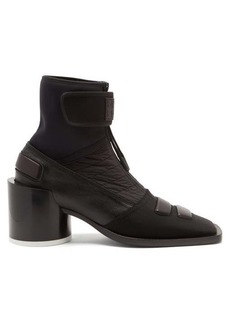MM6 Maison Margiela Square-toe leather and neoprene ankle boots