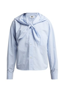 MM6 Maison Margiela Tie-front cotton poplin shirt