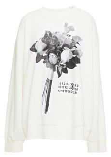 Mm6 Maison Margiela Woman Appliquéd Printed French Cotton-blend Terry Sweatshirt Ivory