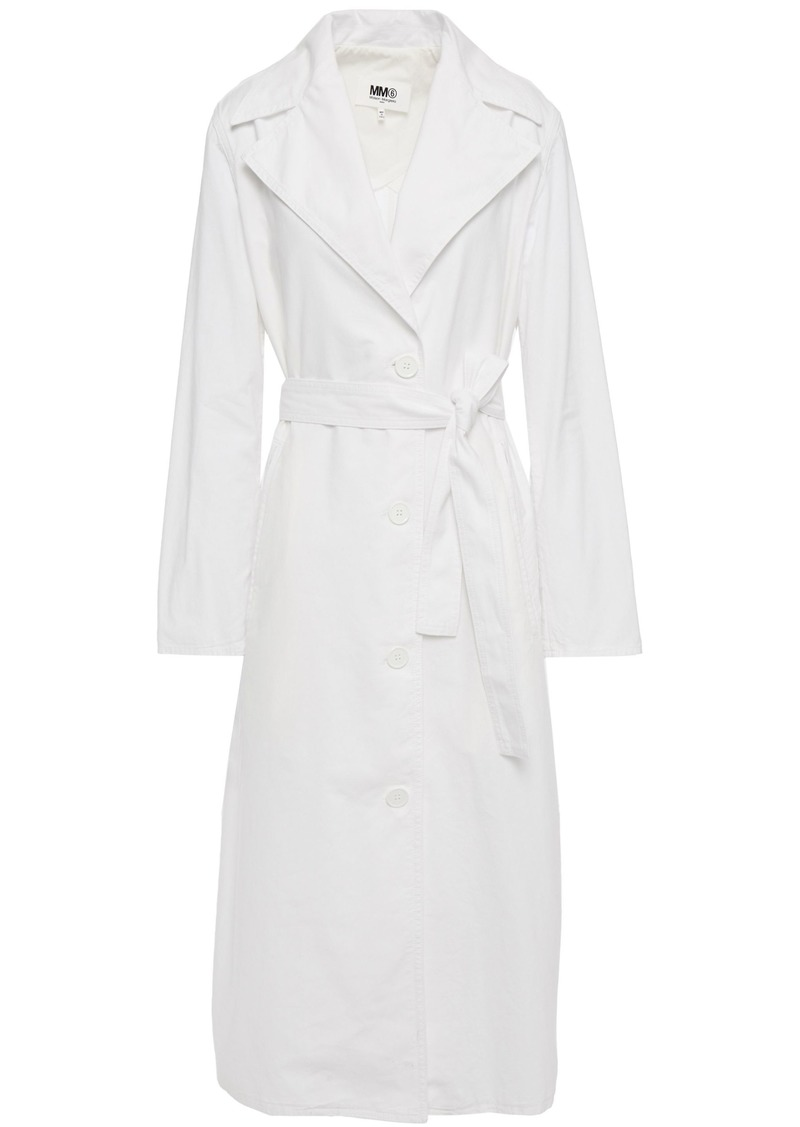 Mm6 Maison Margiela Woman Belted Cotton-poplin Trench Coat White