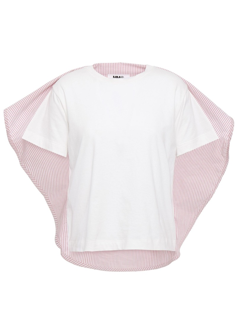 Mm6 Maison Margiela Woman Cape-effect Striped Cotton-poplin And Jersey Top Antique Rose
