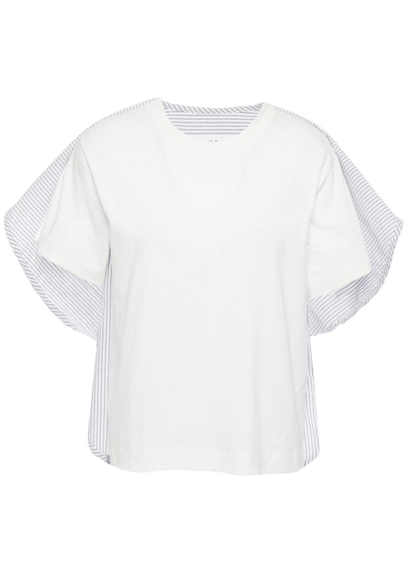 Mm6 Maison Margiela Woman Cape-effect Striped Cotton-poplin And Jersey Top Light Gray