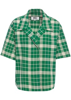 Mm6 Maison Margiela Woman Checked Crepe Shirt Green
