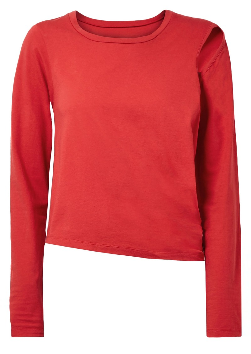 Mm6 Maison Margiela Woman Convertible Cutout Stretch Cotton-jersey Top Red