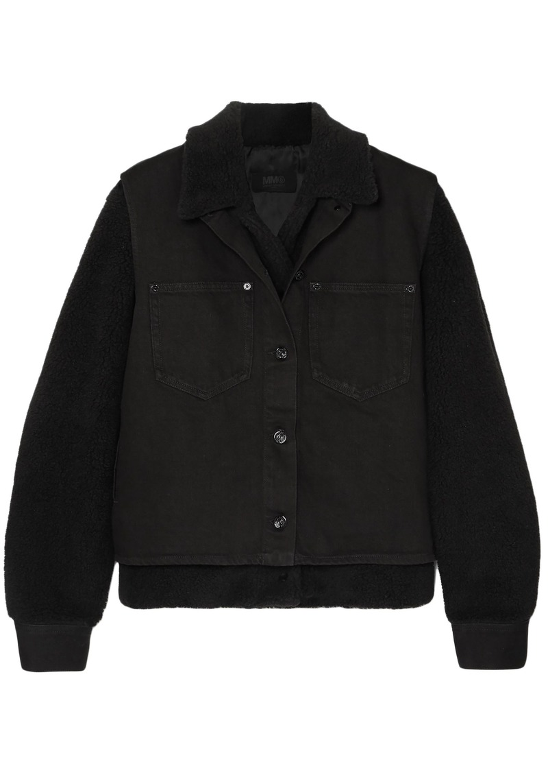 Mm6 Maison Margiela Woman Convertible Faux Shearling Shell And Denim Jacket Black