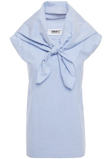 Mm6 Maison Margiela Woman Convertible Knotted Striped Cotton-poplin Top Light Blue
