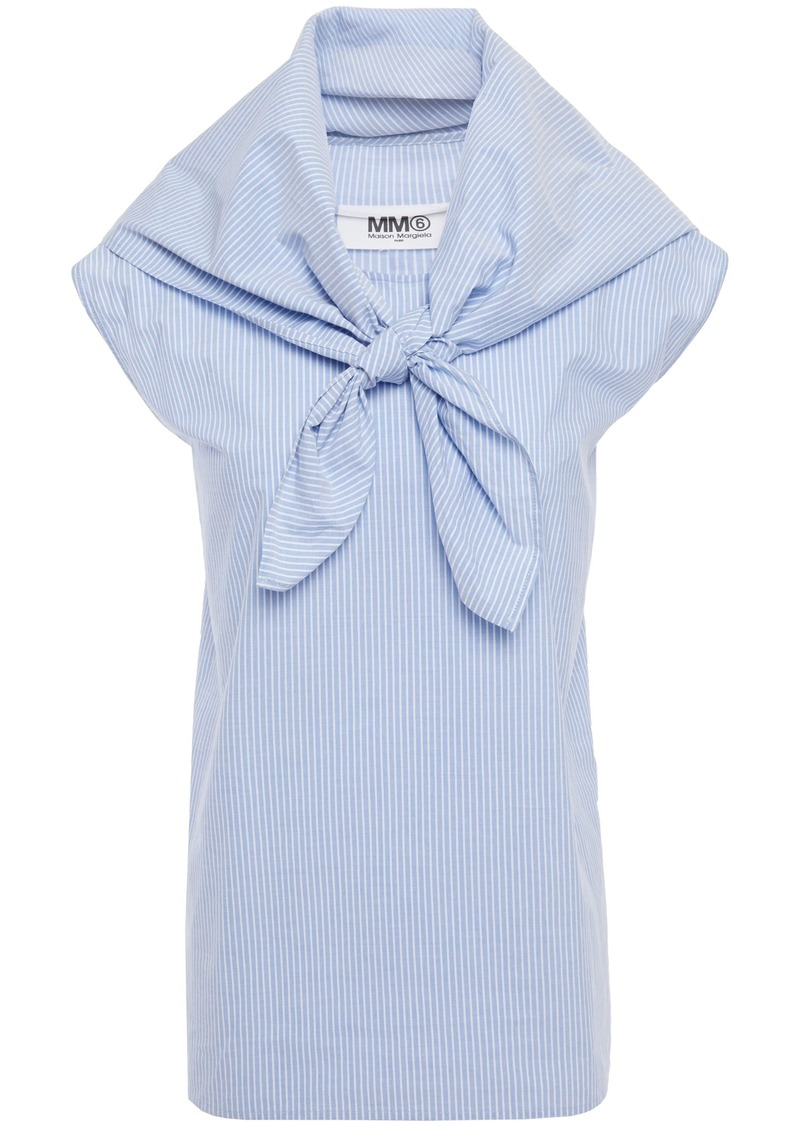 Mm6 Maison Margiela Woman Convertible Knotted Striped Cotton-poplin Top Light Blue