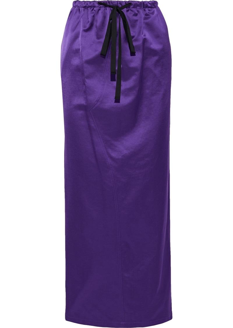 Mm6 Maison Margiela Woman Cotton-blend Sateen Maxi Skirt Purple