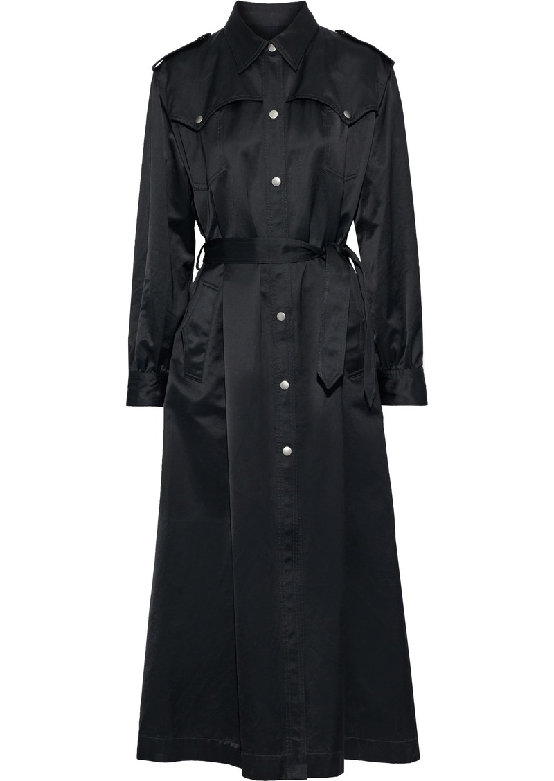 Mm6 Maison Margiela Woman Cotton-blend Satin Trench Coat Black