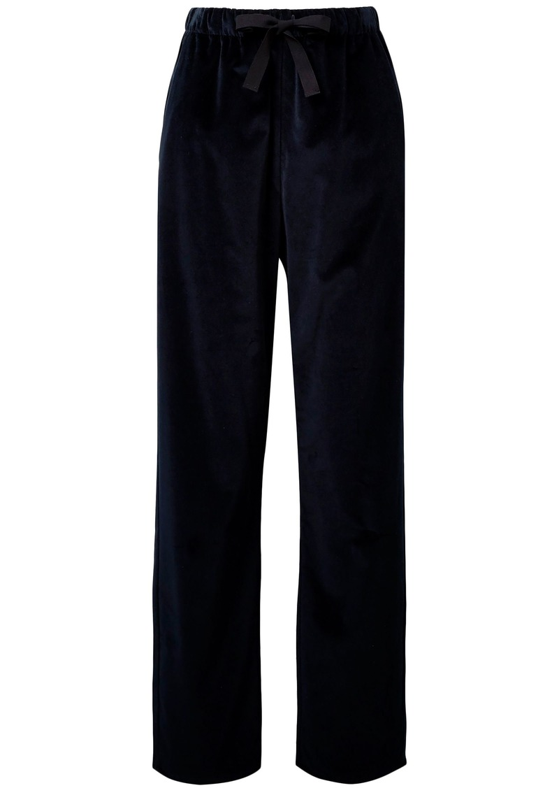 Mm6 Maison Margiela Woman Cotton-velvet Wide-leg Pants Midnight Blue
