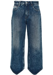 Mm6 Maison Margiela Woman Cropped Bleached High-rise Wide-leg Jeans Dark Denim