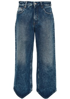 Mm6 Maison Margiela Woman Cropped Bleached High-rise Wide-leg Jeans Dark Denim