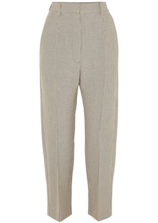 Mm6 Maison Margiela Woman Cropped Checked Jacquard Straight-leg Pants Beige