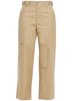 Mm6 Maison Margiela Woman Cropped Cotton-twill Wide-leg Pants Sand