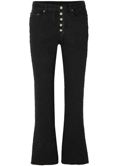 Mm6 Maison Margiela Woman Cropped Distressed High-rise Flared Jeans Black