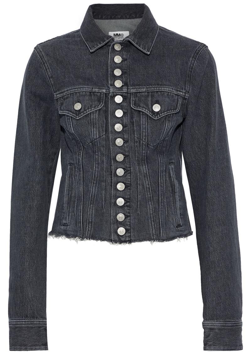 Mm6 Maison Margiela Woman Cropped Frayed Denim Jacket Black