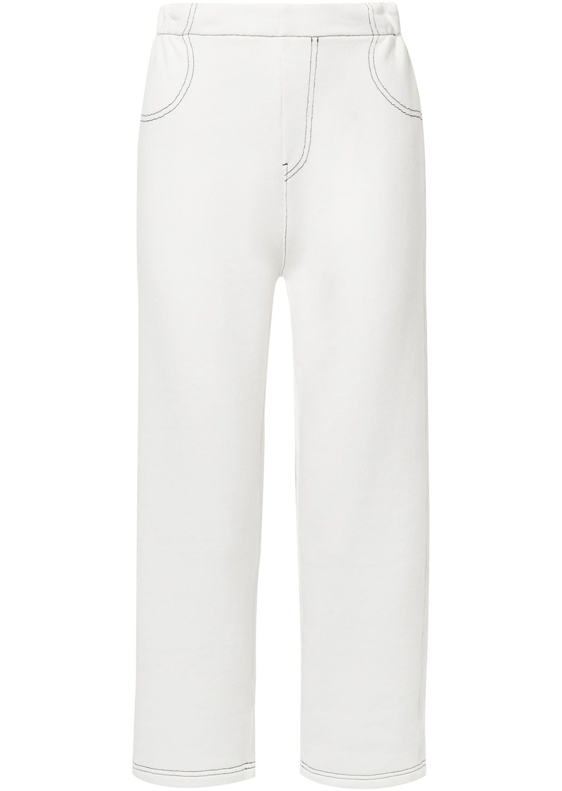 Mm6 Maison Margiela Woman Cropped French Cotton-blend Terry Straight-leg Pants White