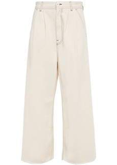 Mm6 Maison Margiela Woman Cropped High-rise Wide-leg Jeans Ivory