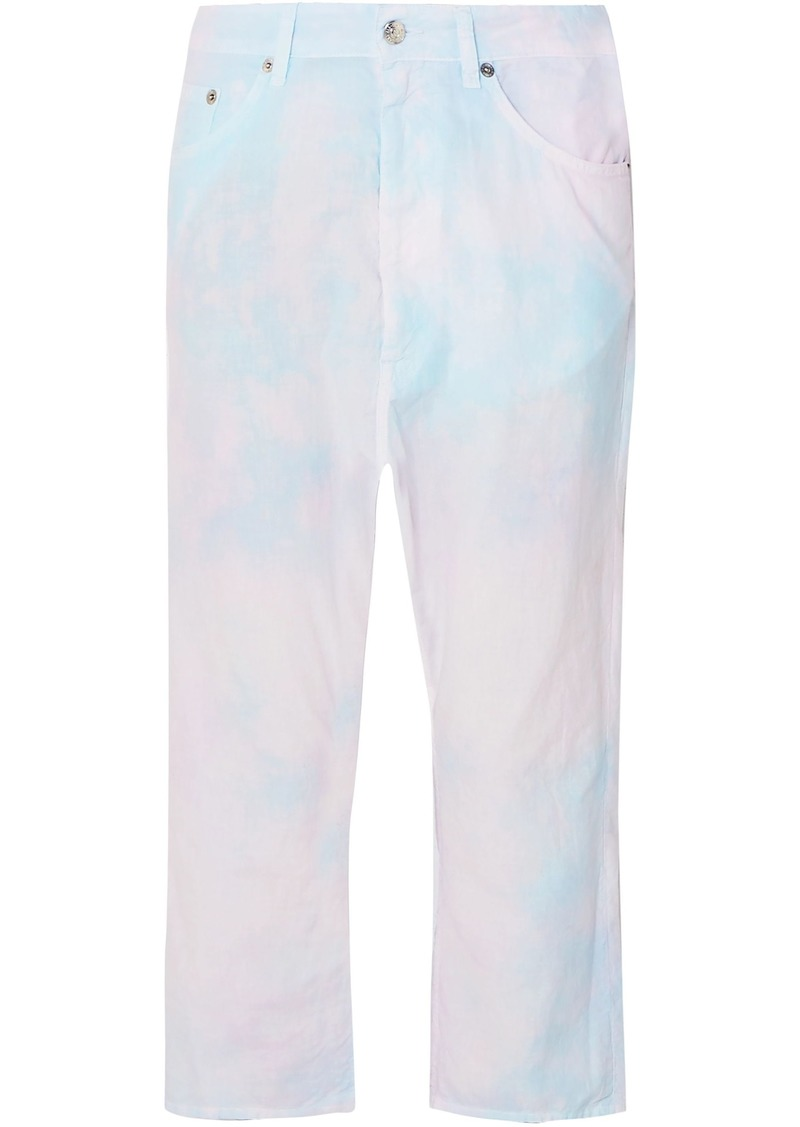 Mm6 Maison Margiela Woman Cropped Tie-dyed Cotton-poplin Straight-leg Pants Pink