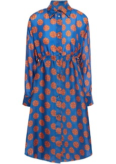 Mm6 Maison Margiela Woman Cutout Printed Silk Mini Dress Indigo
