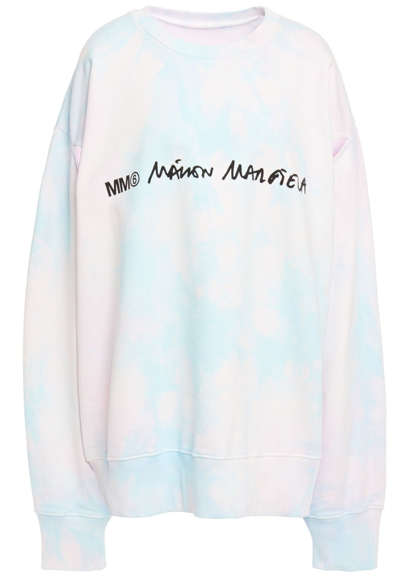 Mm6 Maison Margiela Woman Cutout Printed Tie-dyed French Cotton-terry Sweatshirt Pastel Pink