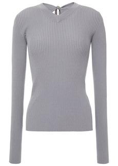 Mm6 Maison Margiela Woman Cutout Ribbed-knit Top Gray