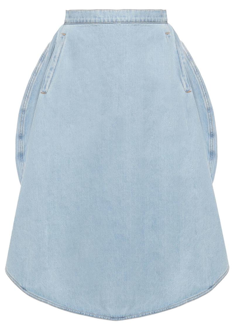 Mm6 Maison Margiela Woman Denim Midi Skirt Light Denim