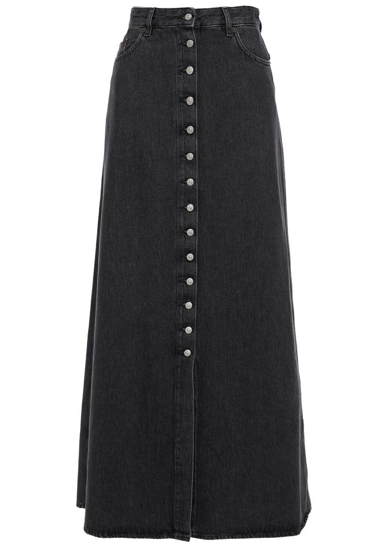 Mm6 Maison Margiela Woman Distressed Denim Maxi Skirt Dark Gray