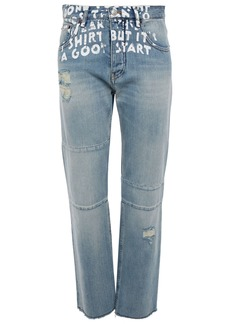 Mm6 Maison Margiela Woman Dre Frayed Boyfriend Jeans Light Denim
