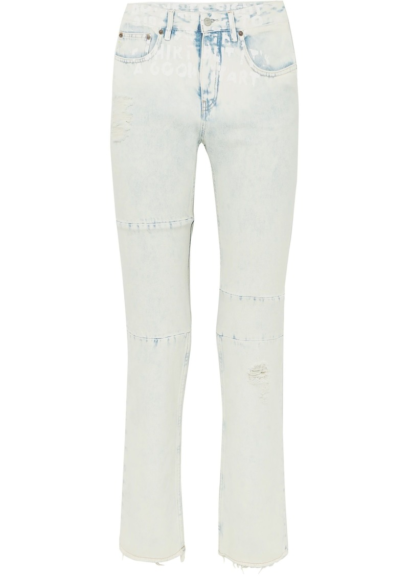 Mm6 Maison Margiela Woman Distressed Printed Mid-rise Straight-leg Jeans Light Denim