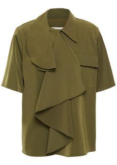 Mm6 Maison Margiela Woman Draped Stretch-twill Shirt Army Green