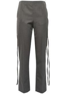 Mm6 Maison Margiela Woman Draped Twill Straight-leg Pants Gray