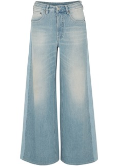 Mm6 Maison Margiela Woman Faded High-rise Wide-leg Jeans Light Denim