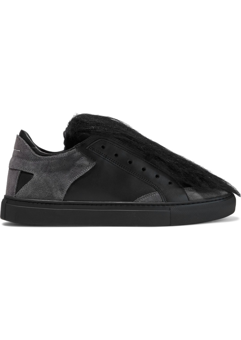 Mm6 Maison Margiela Woman Faux Shearling Suede And Leather Slip-on Sneakers Black